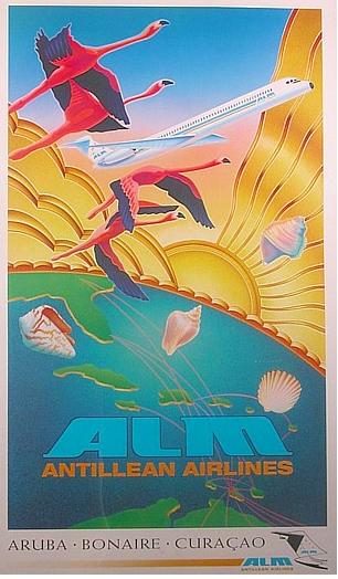 Vintage ALM~Antillian Airlines~Travel Poster: Aruba, Bonaire & Curaçao