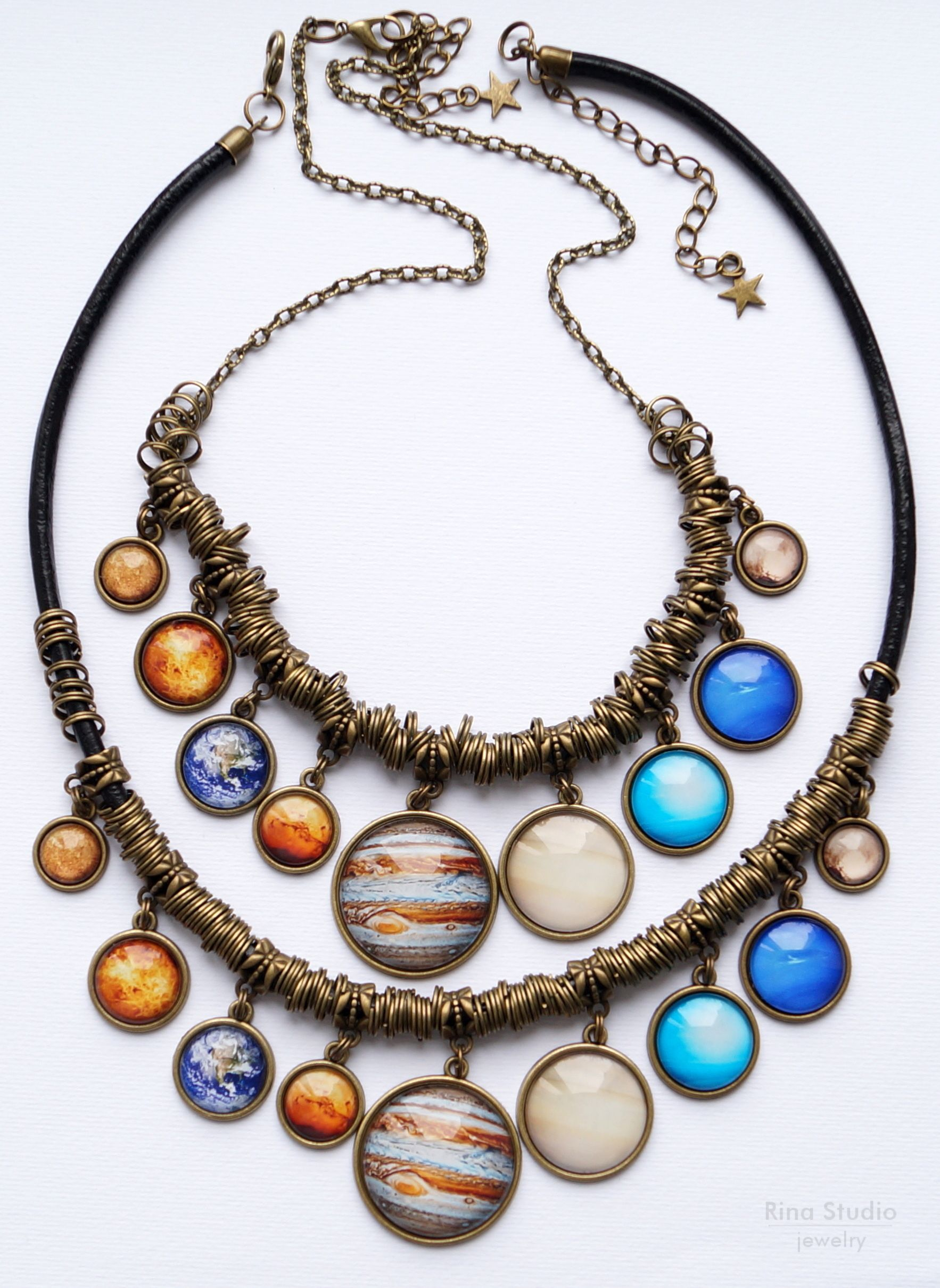 Solar System Bib Necklace With All 9 Planets Space