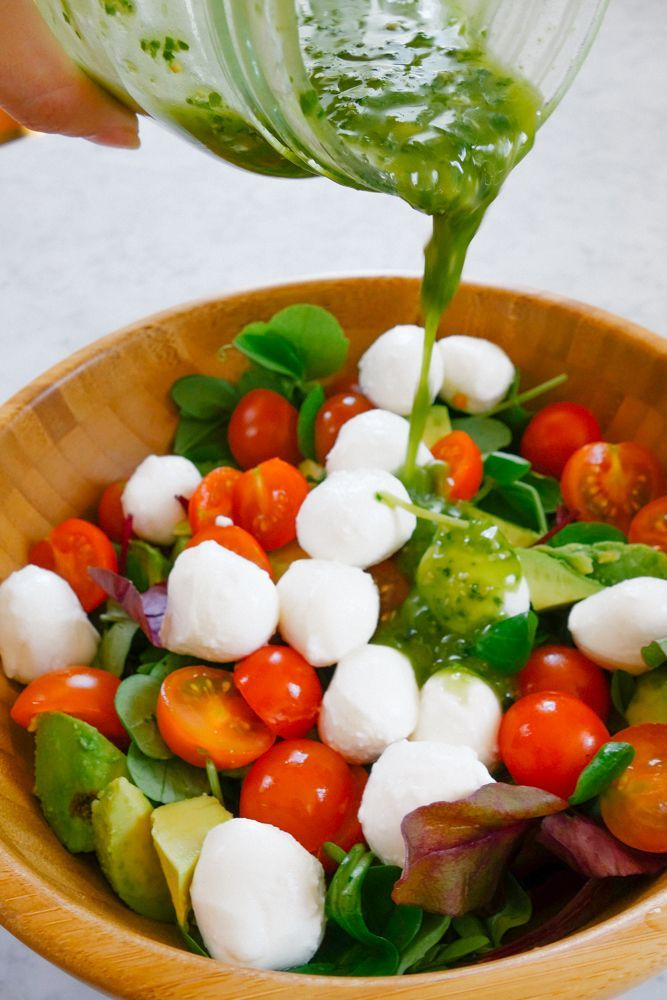Caprese Salad  Pesto Dressing Recipe9  Fooddrinks