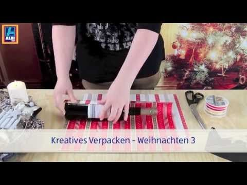 weihnachtliche verpackungsideen mit aldi s d geschenkpapier flaschen verpacken youtube. Black Bedroom Furniture Sets. Home Design Ideas