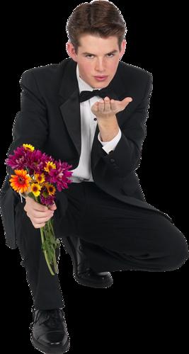 Звуковые открытки, картинки мужчина с цветами в руках на коленях