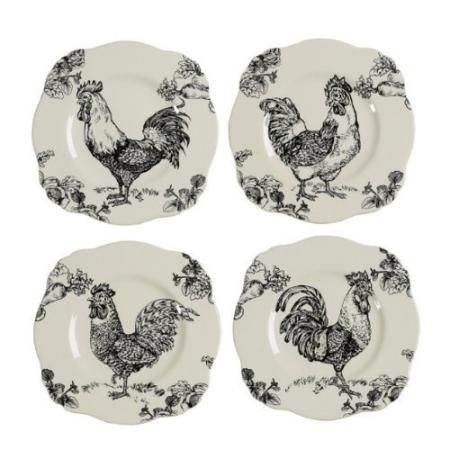 j willfred barnyard rooster toile 9 square plates set of 4 dishes pinterest square. Black Bedroom Furniture Sets. Home Design Ideas