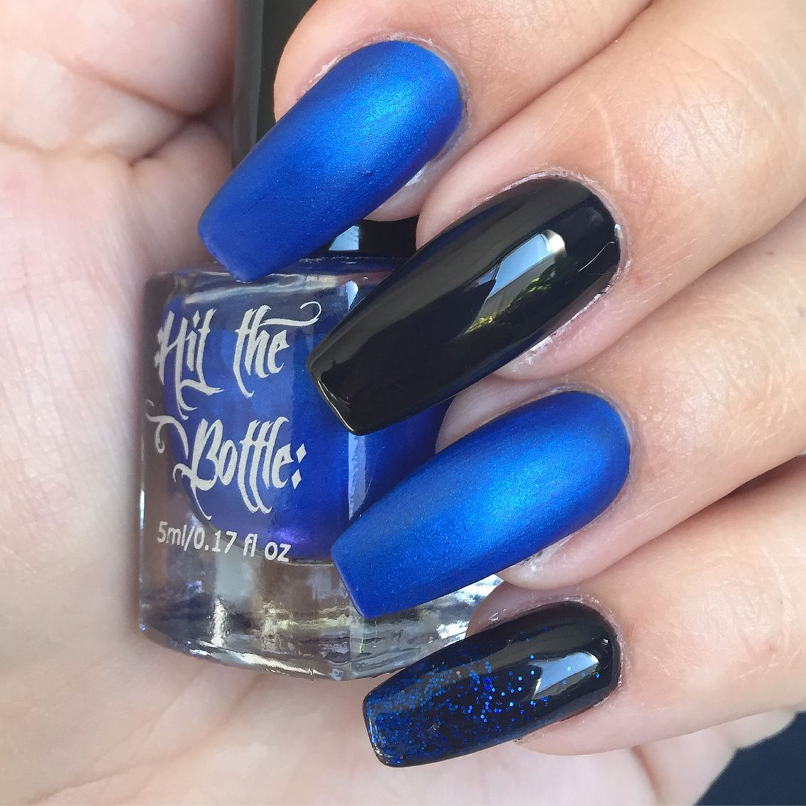 Fluid nail design acrylic nails black gel polish, cobalt blue nail ...
