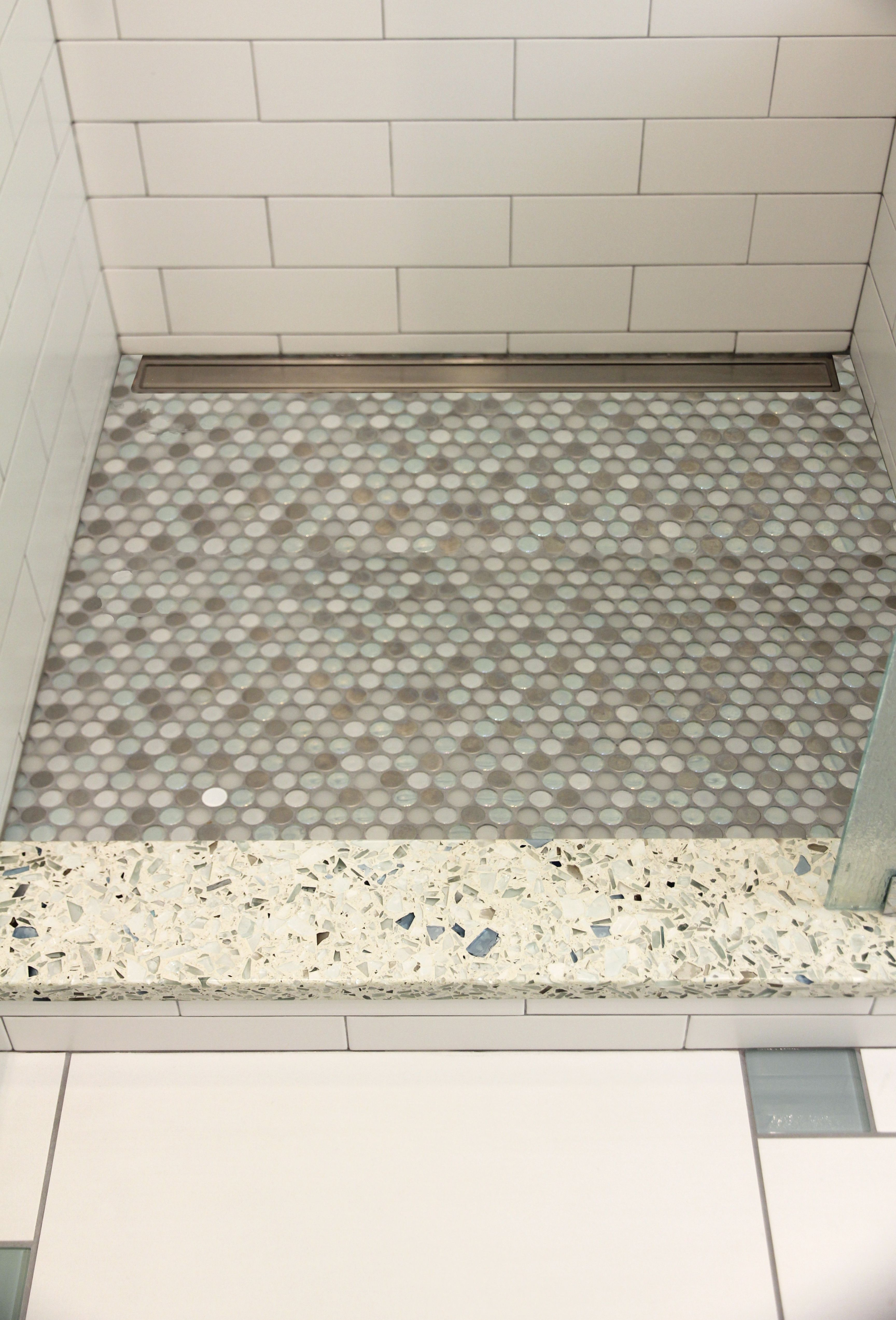 Shower threshold in vetrazzo, penny mosaic tile shower floor with ...