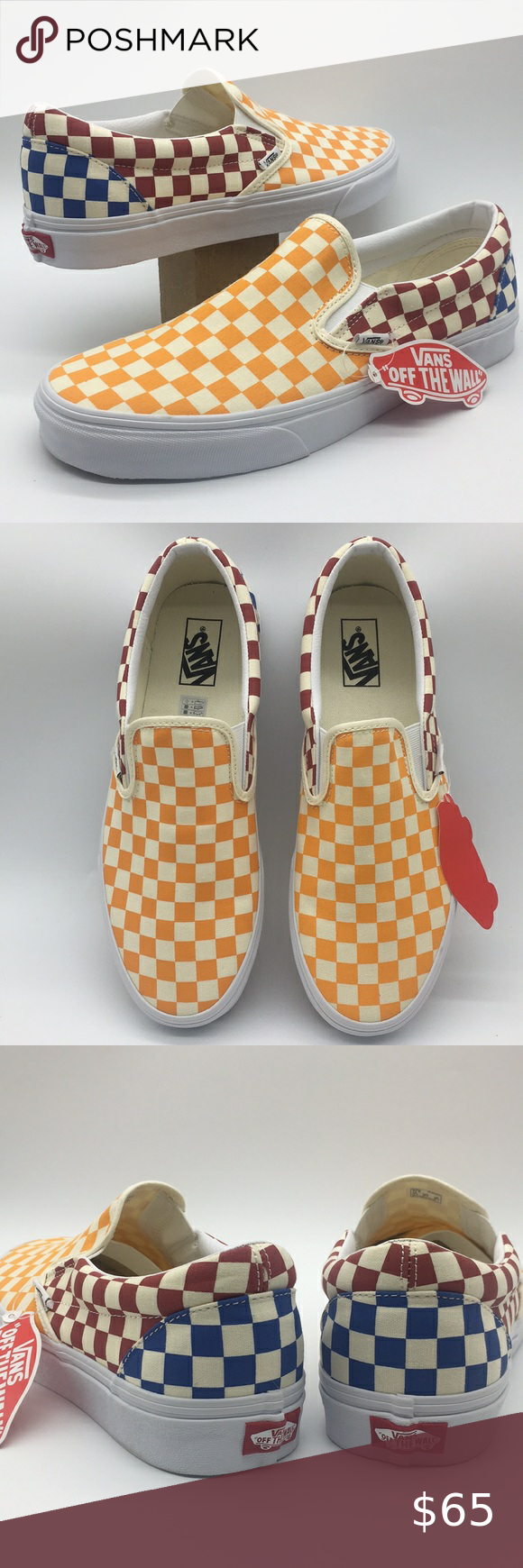Vans Classic Slip On Checkerboard Multi True White In 2020 White Vans Shoes Vans Classic Slip On Watercolor Fashion