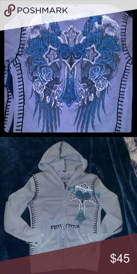 Sinful, Grey and blue hoodie Grey and blue zip up hoodie blk stitching with rhinestone s Affliction Tops Sweatshirts & Hoodies