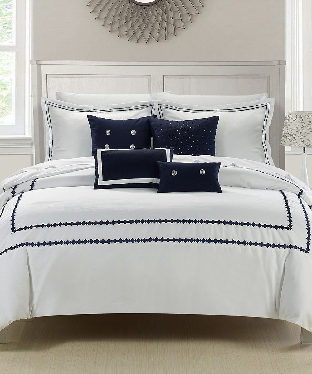 Look At This White U0026 Navy Mandalay Embroidered Comforter Set