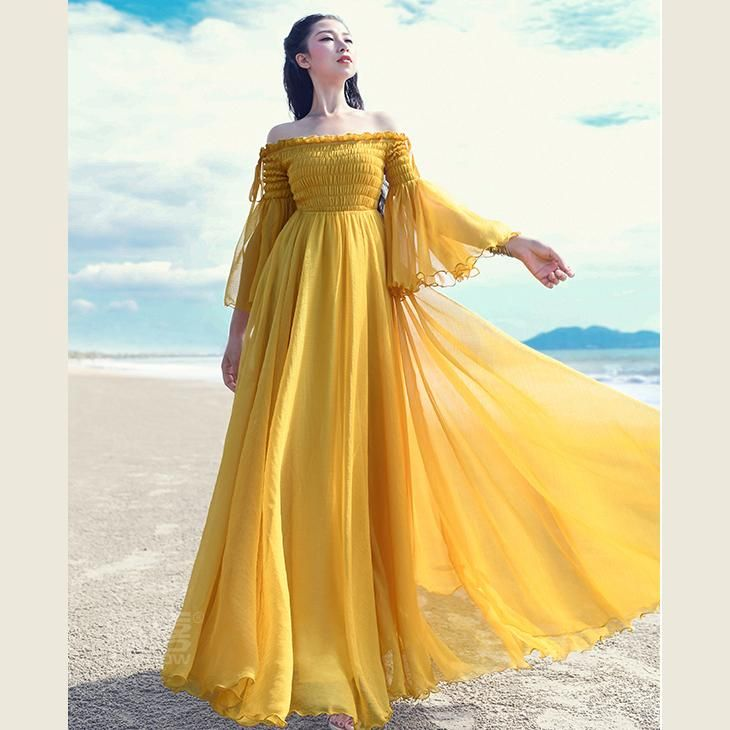 Top Quality Yellow, Holiday Dress ,slash Neck ,flare Sleeve Cocktail Dress ,tunic Maxi Dresses