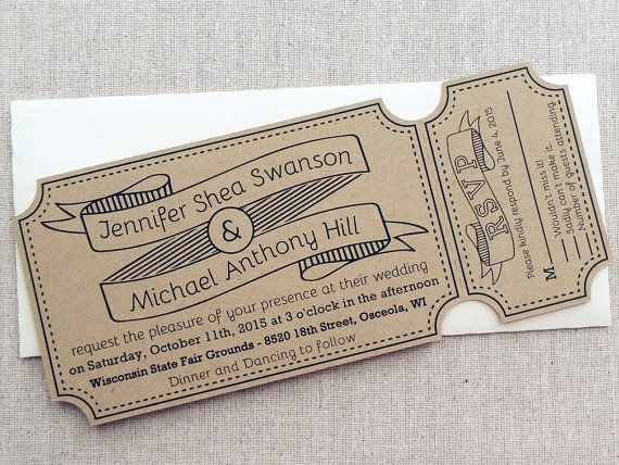 Carnival Ticket Themed Wedding Invitations Kraft Tear Off Invitation