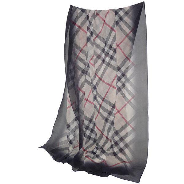depot vente de luxe en ligne BURBERRY foulard echarpe en soie check beige  et noire cfbc446921d