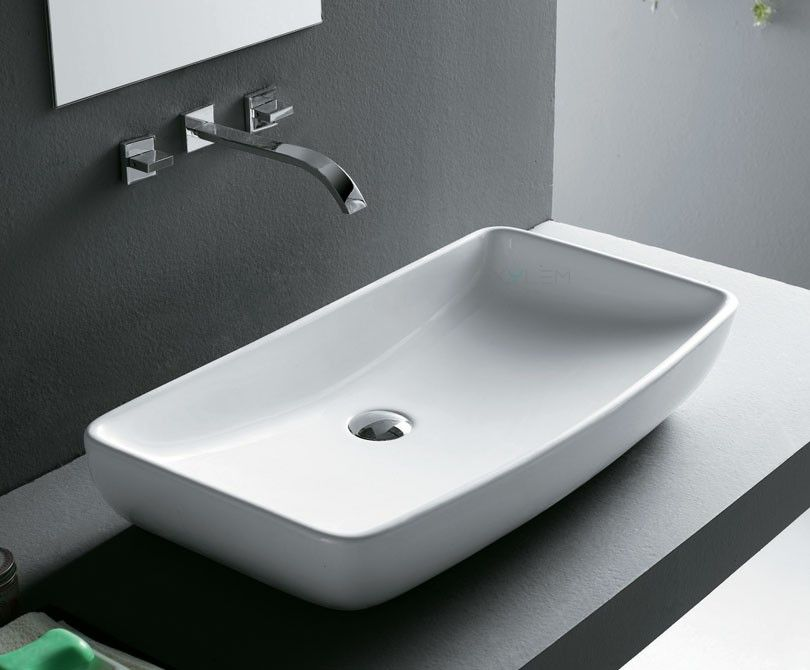 Delicieux Rectangular Ceramic Vessel Sink   27.5u201d