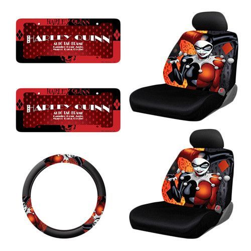 DC Comics Harley Quinn Seat Covers W Steering Wheel Cover License Plate Frames 7