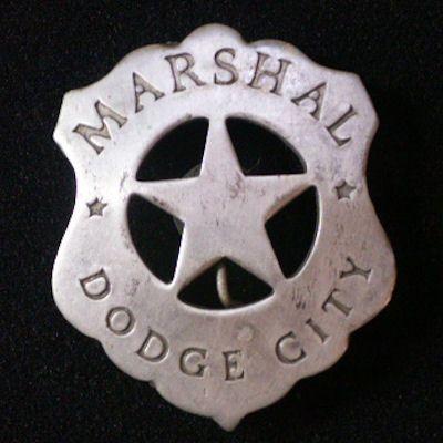 Marshal Dodge City Old West Law Badge at Circle KB.com All Western Cowboy