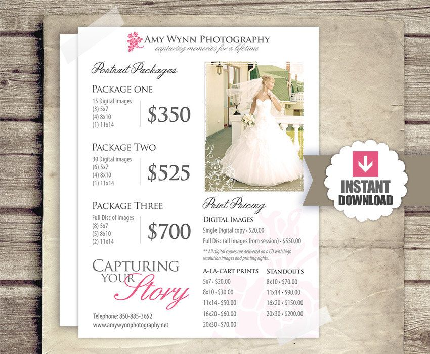 sample wedding photography packages - Google Search Photography - wedding price list