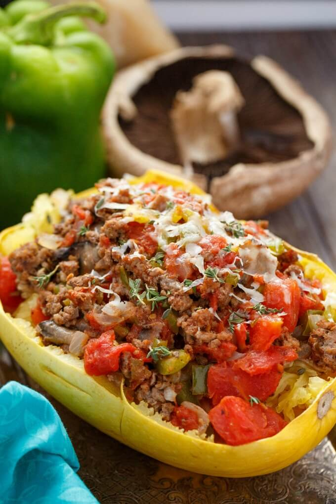 Stuffed Spaghetti Squash with Tomato and Ground Beef - The Cookie Writer