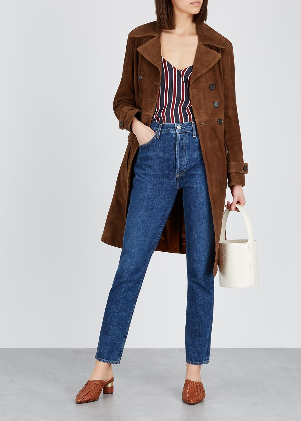 ALEXACHUNG Dark brown suede trench coat Harvey Nichols