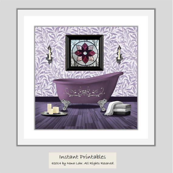 Sale Purple Bathroom Printable Art Print Wall Decor Instant Bathroom Art Printables Printable Art Prints Printable Art