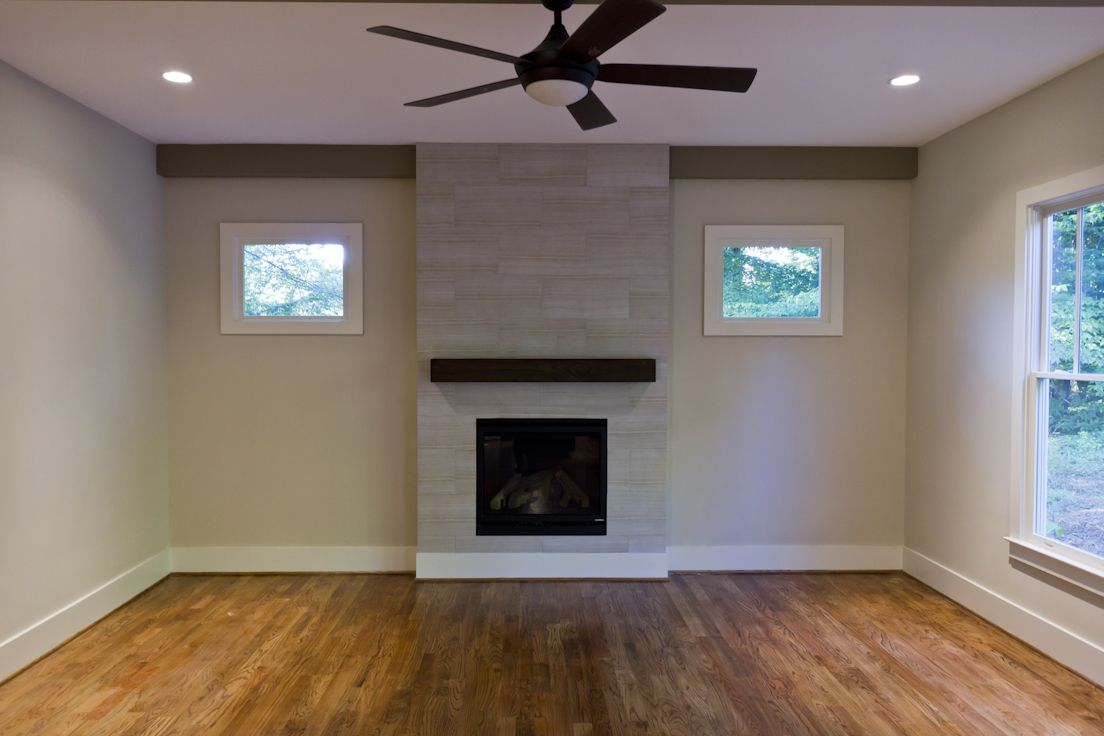 A Modern Design Fireplace In A Transitional Style New Home In