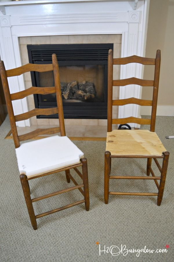 How To Recover Wood Chair Seats Refinished Chairs Metal
