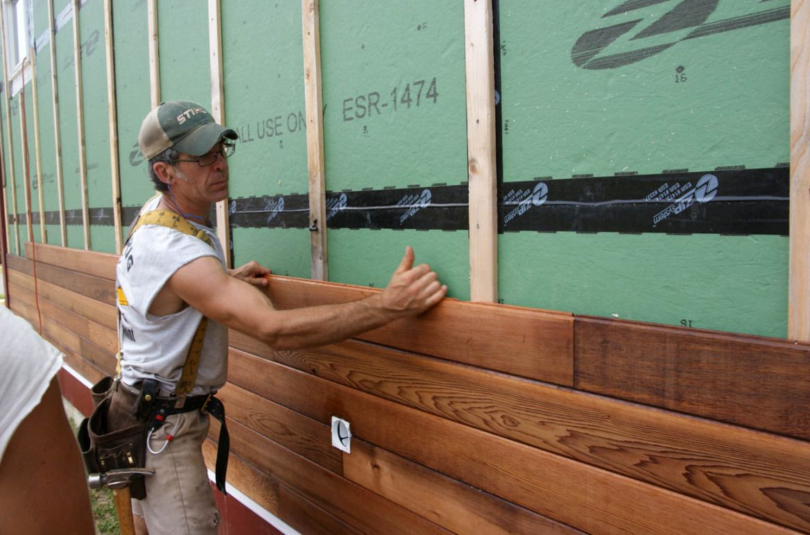 Adam Installing Stained Tongue And Groove Red Cedar Siding Wood Siding Exterior Cedar Siding Exterior Siding