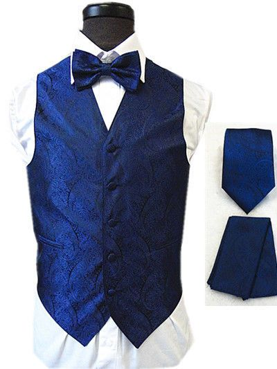 New Amanti Tv801 Mens Paisley Navy Blue 4pc Set Formal
