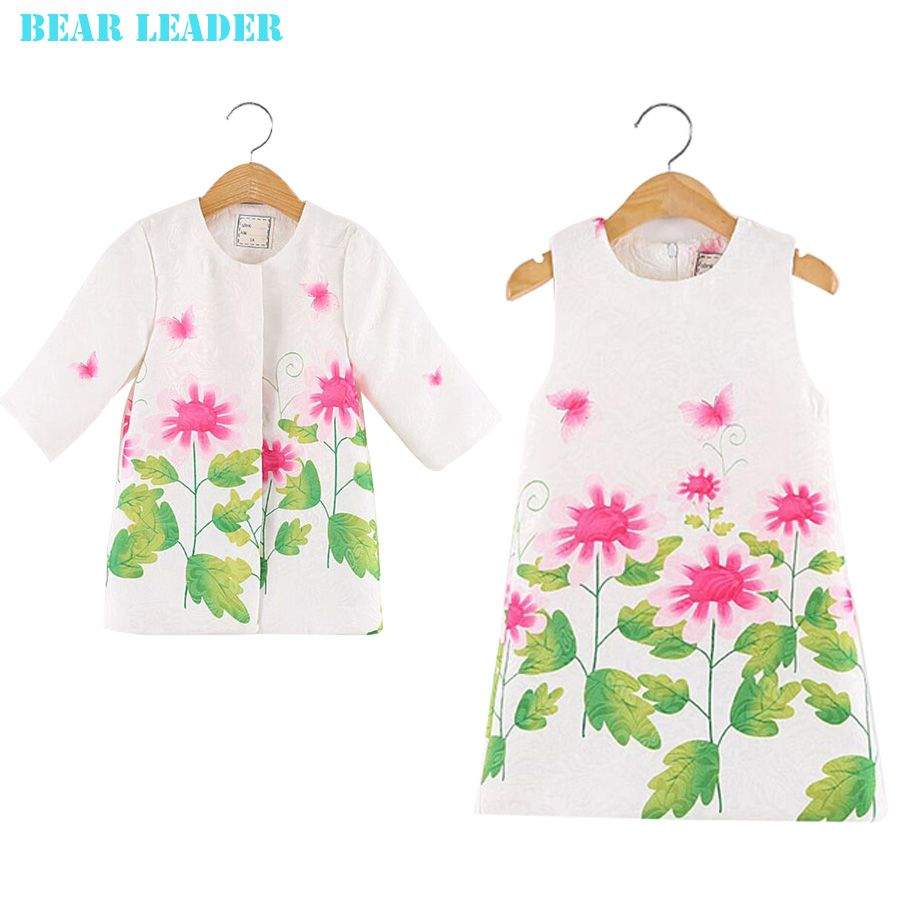 067c069559a4 Click to Buy    Bear Leader Girls Clothing Sets 2016 Brand Girls Clothes  Floral Print Girls Outerwear+Girls Dress 2pcs for Kids Clothing Sets   Affiliate