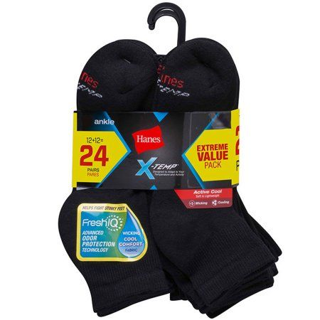 Hanes Mens Black Active Cool Ankle Socks 6-12