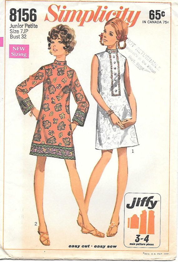Simplicity 8156 UNCUT 1960s Mod Jiffy Dress Mini Dress Sewing ...