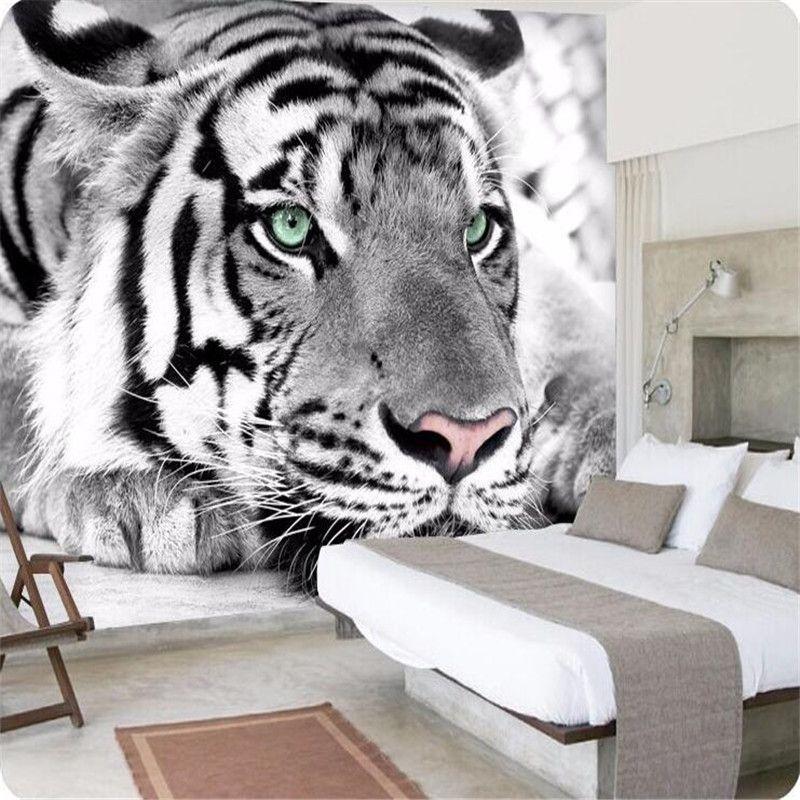 fotobehang Tiger zwart-witte dier muurschilderingen entree ...