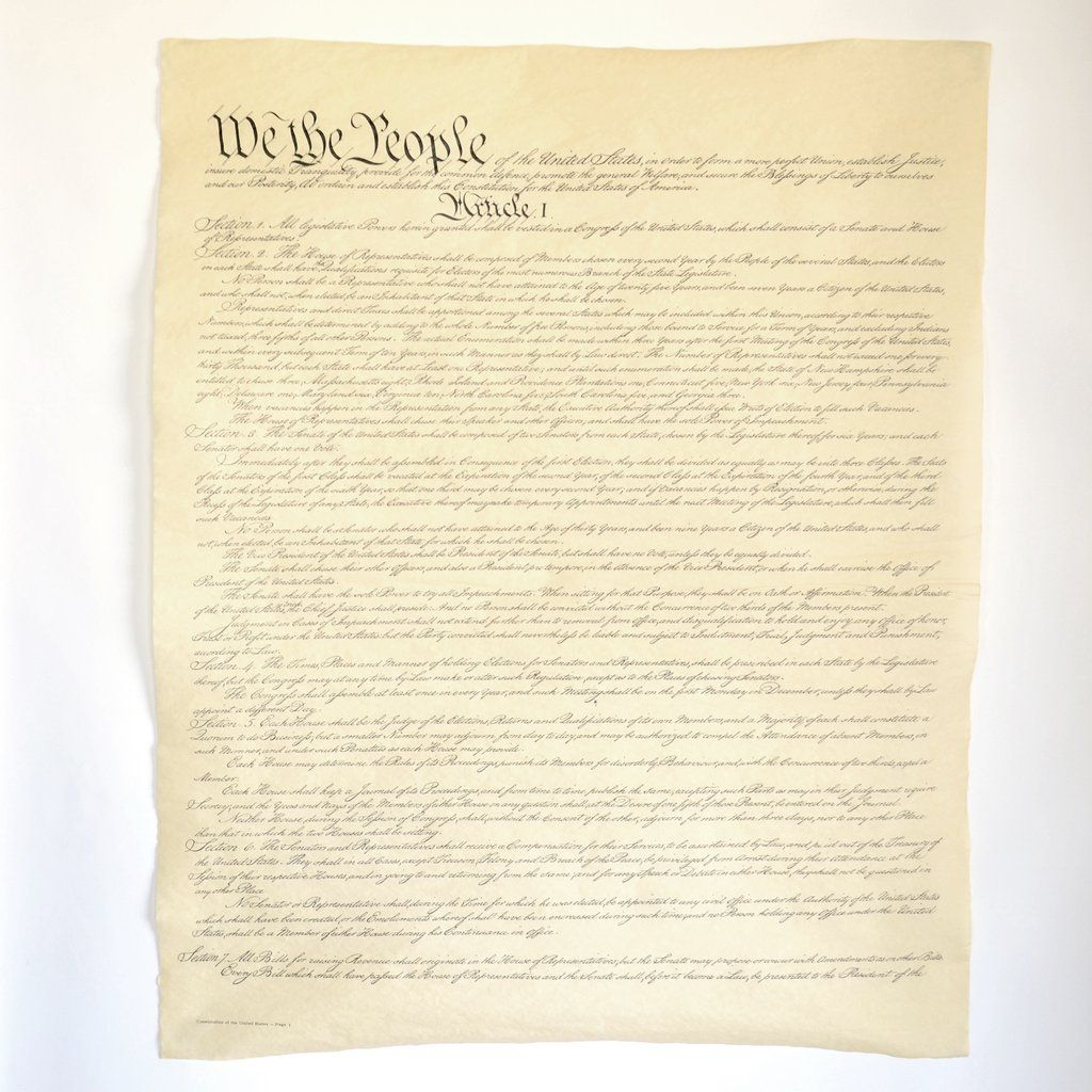 U S Constitution Full Size Four Page Reproduction