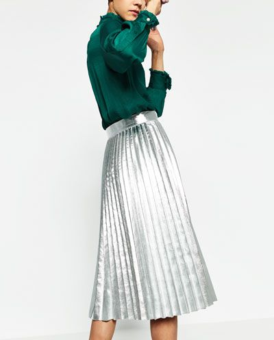 f9e227b00 Image 6 of METALLIC ACCORDION-PLEAT SKIRT from Zara | Outfit ...