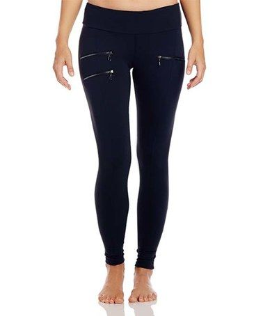 This Black Claire Faux-Zipper Performance Leggings is perfect! #zulilyfinds