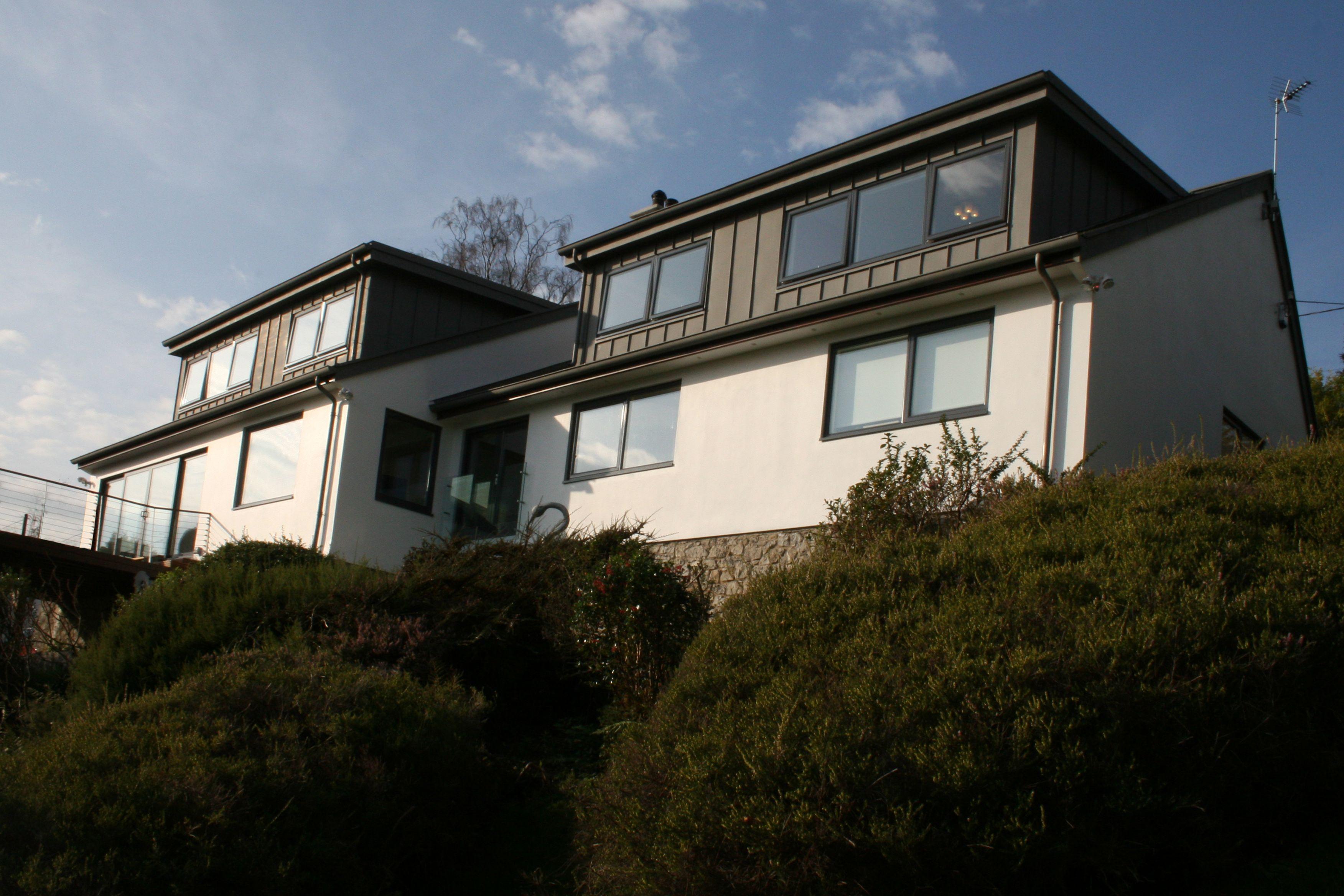 New Zinc Clad Dormers Rendered Houses Zinc Cladding Bungalow Renovation