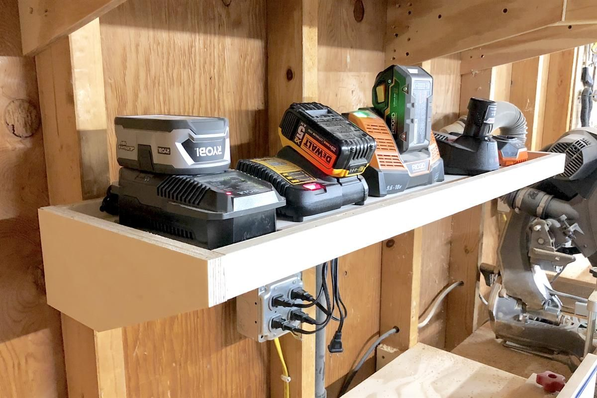 This Station Is Perfect For Holding All Of Your Cordless Tool Battery Chargers What Sets It Apa Battery Charging Station Charging Station Diy Tool Storage Diy