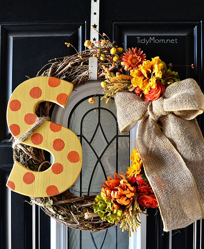 Fall Door Wreath Ideas Part - 31: DIY Monogram Fall Wreath