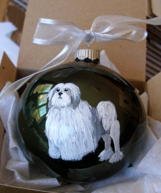 Lowchen Lion Dog Hand Painted Christmas Ornament - Can Be Personalized with Name