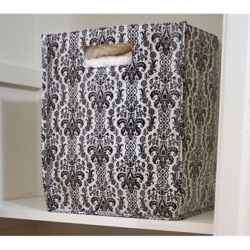 Folding Bin, Damask..Perfect for file folders, toys, small items, closet organizers and MORE.  ONLY $9.49  #storage #organization