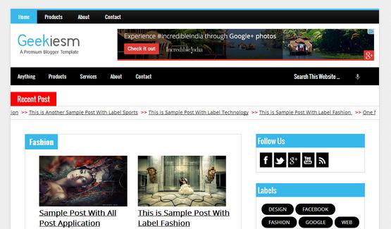 Flat Mag - Responsive Magazine Blogger Template   Template, Social ...