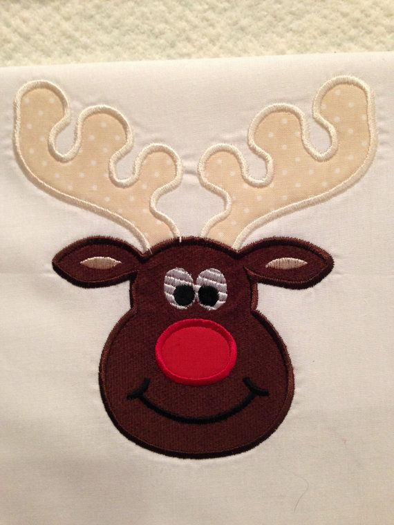 Deer Embroidered Iron On Applique Patch Snow Winter Reindeer