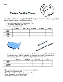 Thanksgiving Logic Puzzles And Venn Diagram Math Activities