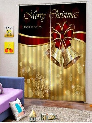 2PCS Merry Christmas Bell Window Curtains | Navidad