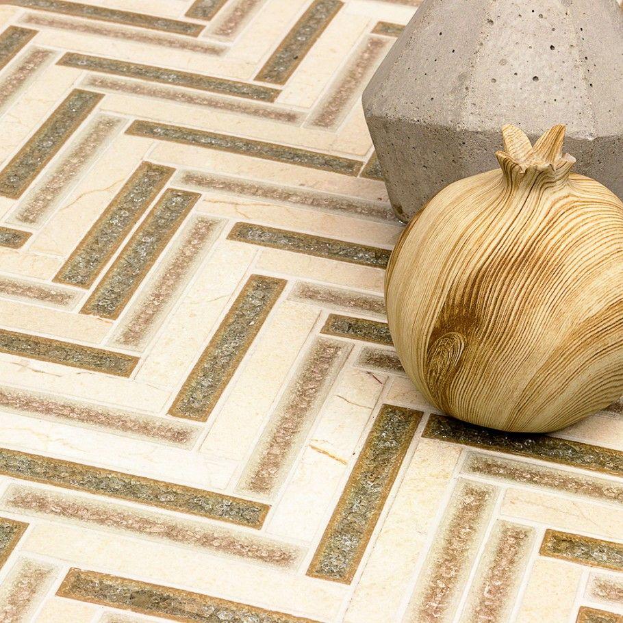 Emperial Roman Tucson Tan Herringbone Marble & Glass Tile