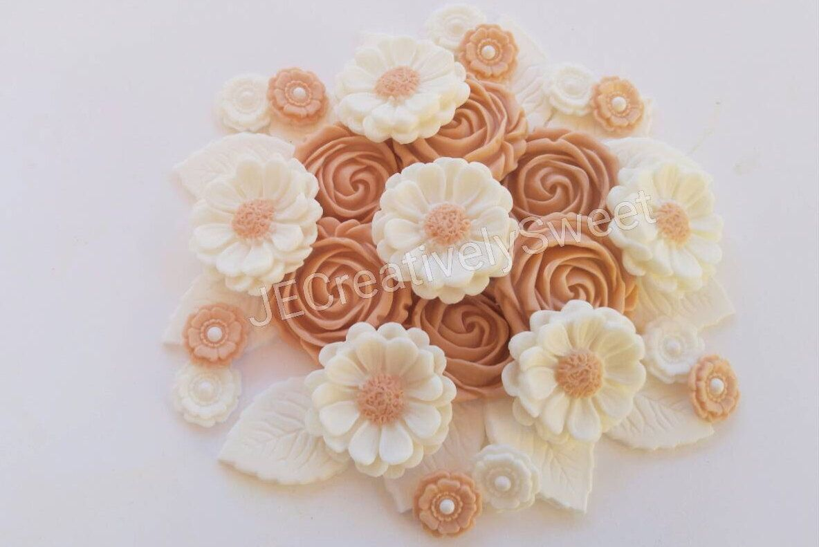 36pcs mix roses daisies leaves blossoms beige white flower sugar 36pcs mix roses daisies leaves blossoms beige white flower sugar gumpaste fondant flower cake cupcake topper mightylinksfo