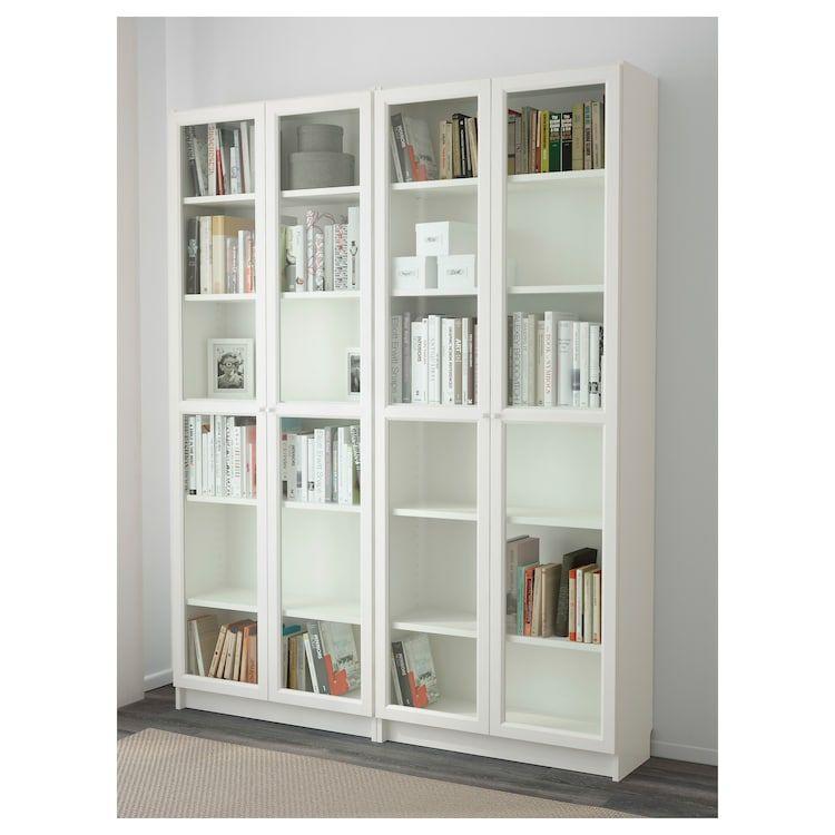 Billy Oxberg Bookcase White Glass 63x11 3 4x79 1 2 Ikea