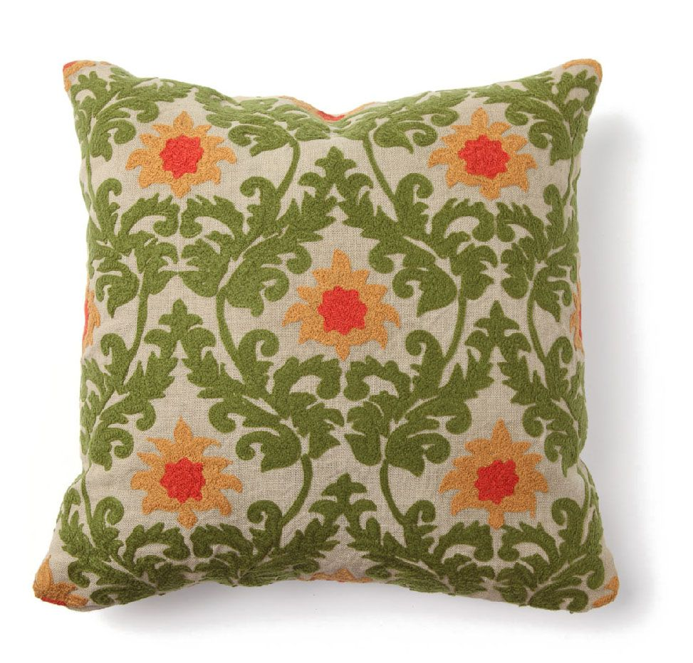 Nature themes become elegant with brocade treatments. #green #pillow #brocade