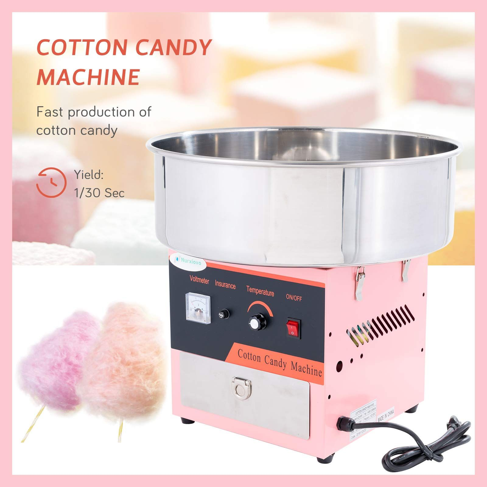 Commercial Cotton Candy Machine Candy Floss Maker Party Carnival Electric Pink
