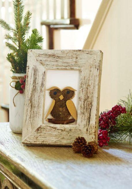 DIY Framed Holiday Owl