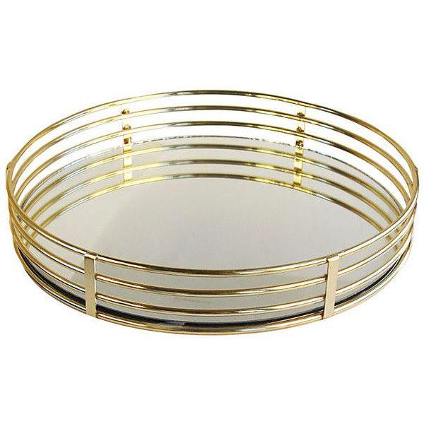 15 Quot Round Mirrored Tray Gold Decorative Trays 39 Via