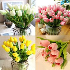 10Pcs Artifical PU Tulips Flower Bouquet Home Centerpiece Wedding Decor