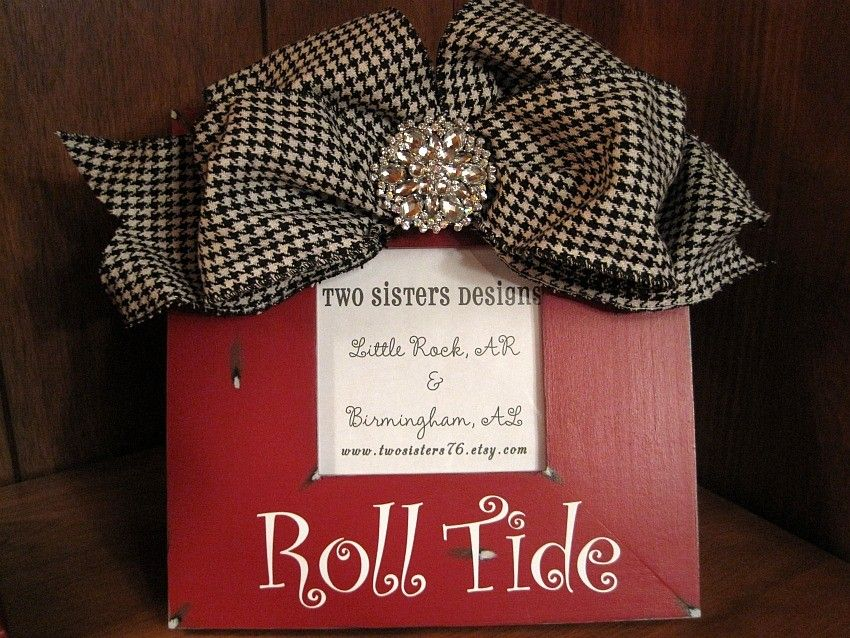 Red Roll Tide Frame With Houndstooth Bow Roll Tide Alabama Roll Tide Tide